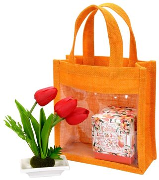 Festive Gifting Combo Gift Hamper of Artificial Flower/ Candle/ Jute Bag
