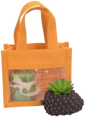 Festive Gifting Combo Gift Hamper of Artificial Plant / Candle/ Jute Bag