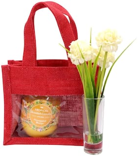 Festive Gifting Combo Gift Hamper of Artificial Flower/ Glass Candle/ Jute Bag