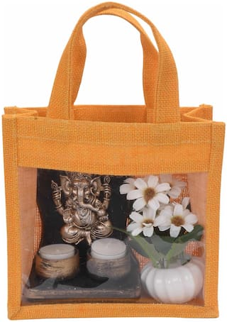 Festive Gifting Combo Gift Hamper of Golden Ganesh Tealight Holder / 2 Candles / Artificial Flower/ Jute Bag