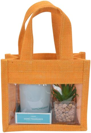 Festive Gifting Combo Gift Hamper of Glass Candle / Artificial Plant/ Jute Bag