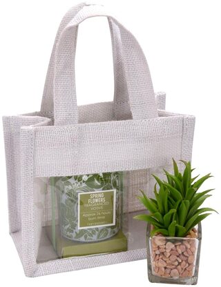 Festive Gifting Combo Gift Hamper of Glass Candle / Artificial Plant