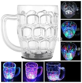 Fibre Glass Beer Mug With Inductive Rainbow Color Disco Led 7 Colour Changing Mug