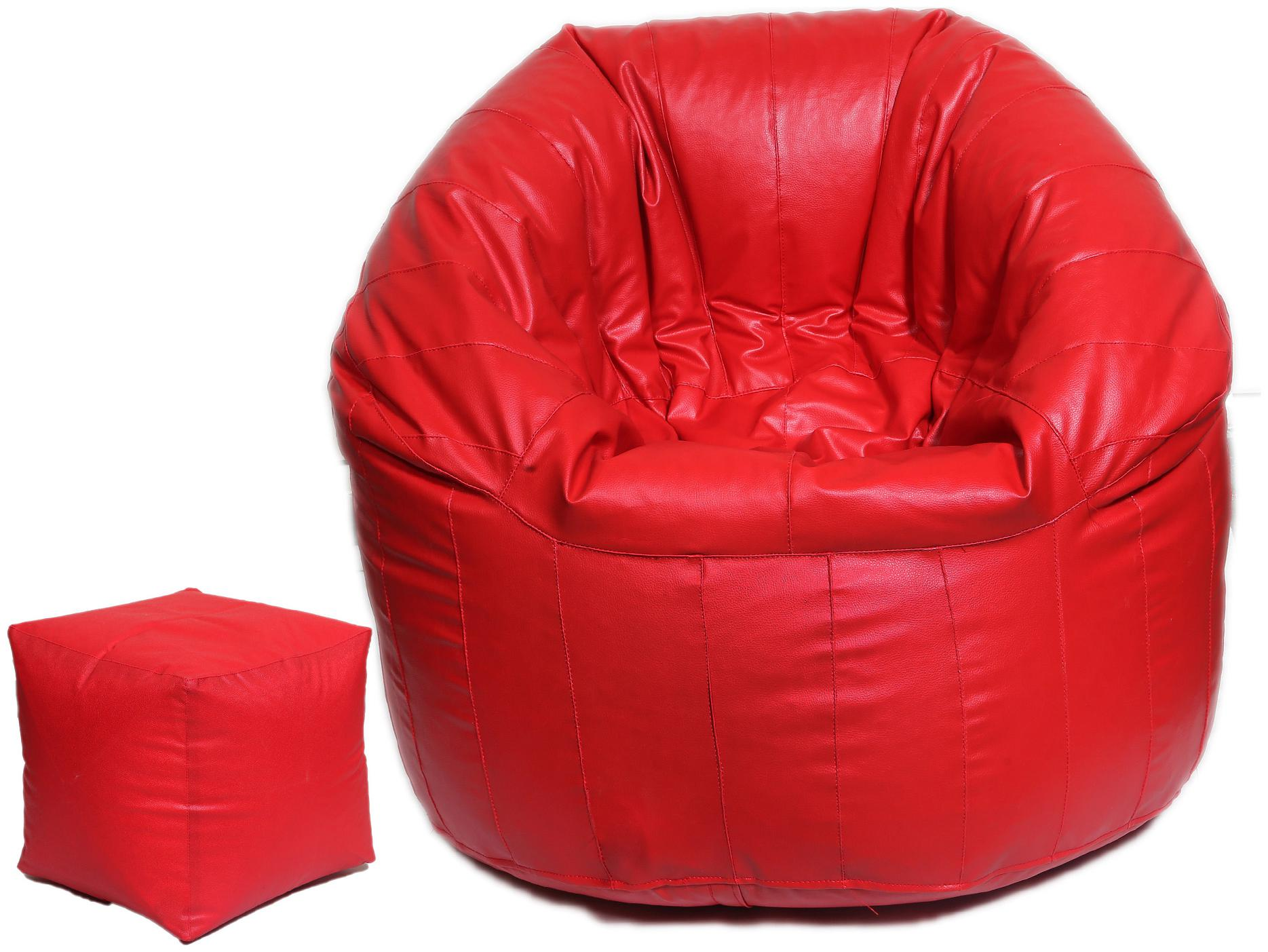 Fine Furnishing Combo Classic XXXL Bean Bag Cover with Square Puffy Footstool...