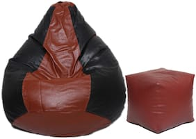 Fine Furnishing Combo Classic XL Bean Bag Cover with Square Puffy Footstool Cover Without Beans