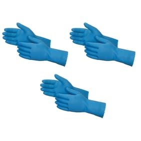 Flocklined Rubber Hand Gloves, Medium Size, Blue (Set of 3 Pairs)