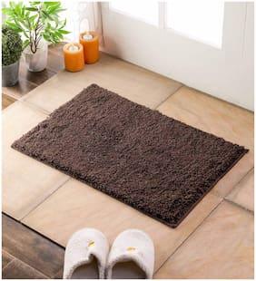 Flooring India Chocolate Polyester Manhattan Solid 16x24 inch Anti Skit Door Mat