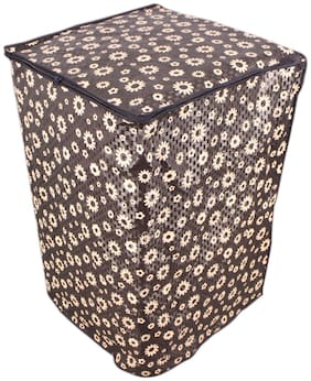 Glassiano Floral Black Coloured Waterproof & Dustproof Washing Machine Cover For Whirlpool Stainwash Ultra Fully Automatic Top Load 6.5 Kg Washing Machine