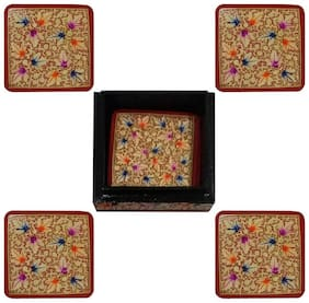 Floral Handpainted Square Shape Paper Mache Coaster Set