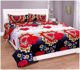 FLORAL HEART DOUBLE BEDSHEET WITH PILLOW COVERS