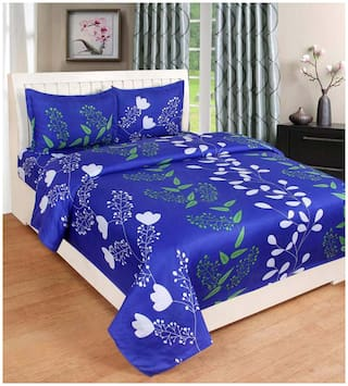 ELLONIA Microfiber Floral Double Size Bedsheet 177 TC ( 1 Bedsheet With 2 Pillow Covers , Blue )