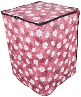 Glassiano Floral Red Coloured Waterproof & Dustproof Washing Machine Cover For Whirlpool Stainwash Ultra Fully Automatic Top Load 6.5 Kg Washing Machine
