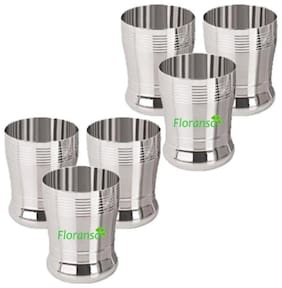Floranso Steel Glass SET OF 6 Original Stainless Steel Glass (400 ml) water serving drinkware Home Hotel