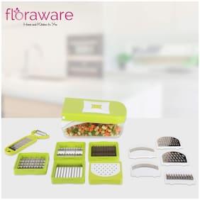 Floraware 11 in 1 Fruit & Vegetable Cutter - Chopper, Dicer,Grater, Slicer, All in One,Green