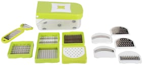 Floraware 11 in 1 Fruit & Vegetable Cutter - Chopper, Dicer,Grater, Slicer, All in One,Green