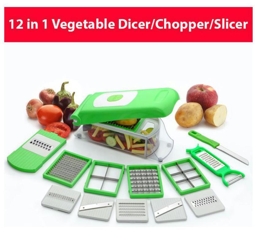 Floraware 12 in 1 Premium Fruit & Vegetables Cutter - Chopper Grater Slicer Peeler Green