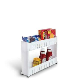Floraware 2 Layer Storage Organizer Slim Rack Shelf with Wheels