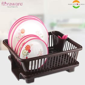 Floraware 3 in 1 Large Sink Set Dish Rack Drainer with Tray for Kitchen;DarkBrown