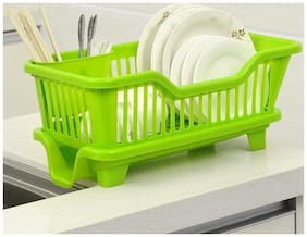 Floraware 3 in 1 Large Sink Set Dish Rack Drainer with Tray for Kitchen, Dish Rack Organizers (Green)