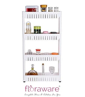 Floraware 4 Layer Storage Organizer Slim Rack Shelf with Wheels
