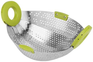 Floraware Collapsible Colander Steamer  Fruit Basket Stainless Steel (Color May Vary)