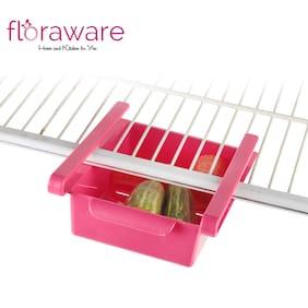 Floraware Fridge Space Saver Organizer Slide Storage Rack Shelf Drawer, Plastic Kitchen Rack