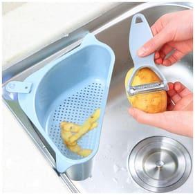 Floraware Multipurpose Large Sink Storage Basket Washing Vegetables;Fruits | Bathroom Support Shelf Soap Box Organizer | Sink Corner Unbreakable Plastic (Blue)