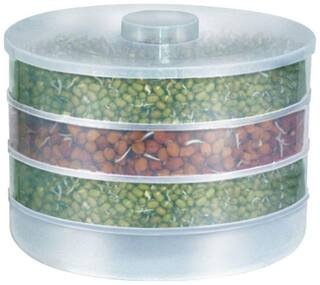 Floraware Plastic Sprout Maker  4 Containers  White