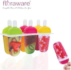 Floraware Plastic Reusable Ice Candy Maker Kulfi Maker Moulds Set Kids Ice Cream Tray Holder (6 Mould)