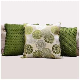 Good Vibes Embroidered Jacquard Square Shape Green Cushion Cover ( Regular , Pack of 3 )