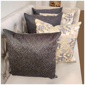 Good Vibes Embroidered Jacquard Square Shape Grey Cushion Cover ( Regular , Pack of 5 )