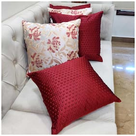 Good Vibes Embroidered Jacquard Square Shape Red Cushion Cover ( Regular , Pack of 5 )