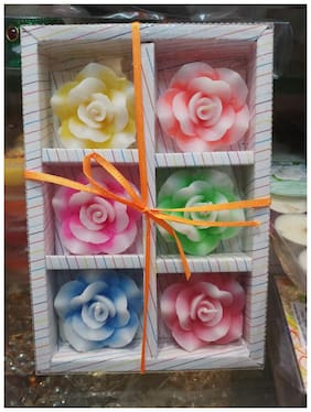 Flouroscent Muticoloured Floating Diwali Flower Candles Pack of 6 - Xclusive Plus