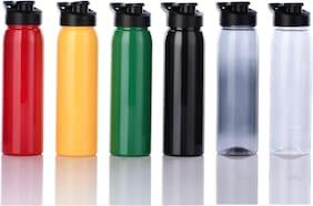 Flux PET Assorted Water Bottle ( 800 ml , Set of 6 )