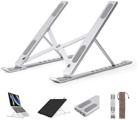 Fokatkart Portable Laptop Stand with 7 Adjustable Level Ergonomic Design, Multifunction for All Laptops (Silver)