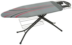 Foldable Ironing Board Table 126 x 45 cm Jumbo Iron Stand with Cloth Rack and Hanger Grey Design - Eurostar