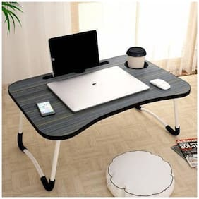 Foldable Laptop Table with Cup Holder, Charging Cable & IPad/Tablet Slot Table 1