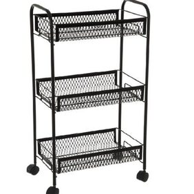 Foldable Multi Utility Collapsible Kitchen Trolley Black - Eurostar