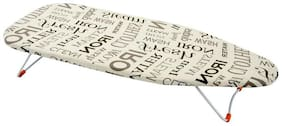 Foldable Table Top Ironing Board 73 x 33 cm Little Champ Small Ironing Stand Table Brown Text - Eurostar