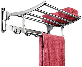 Folding Stainless Steel Towel Rack/Holder/Hanger/Stand for Bathroom in ROUND Pipe 24 inch (2 Feet) Size