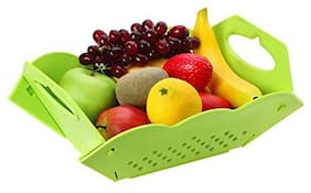 Folding Vegetable Colander & Fruit Basket;Easy Wash Basket to Keep Vegetable and Fruits Fresh (1Pc) Assorted Color