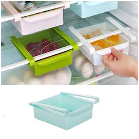 Food Storage Tray Kitchen Fridge Freezer Space Save Storage Rack Shelf Fruit Vegetable Holder Box Drawer (1Pc) Assorted Color