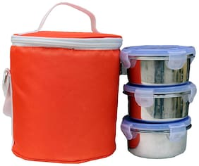 Foonty 3 Containers Stainless steel Lunch Box - Orange