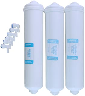 For Kent And All RO UV Water Purifier Filter 3G Flo Inline Filters 1 Sediment 2 Carbon 6 Elbows