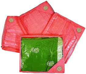 ForeTrend Designer Broach Saree Cover Set of 4 Pcs Pink
