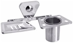 Fortune Buff Finish Stainless Steel Soap Dish with Tumbler Holder/ Soap Stand with Tooth-Brush Holder