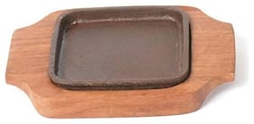 Fozti Cast Iron Square Brownie/Sizzler Plate/Platter with Wooden Base for Home/Restaurant 5inch