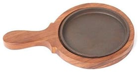 Fozti Round Brownie Sizzler Plate Wooden Base with Handle 5 inch