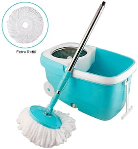 FPR 360 Degree Spin Bucket Mop Set with Stainless Steel Spinner With Big Wheels One Extra Refill for Cleaning All Kind of Floors