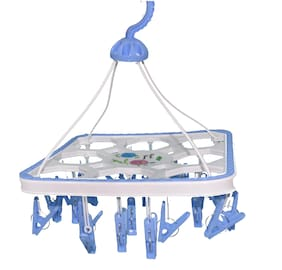 FPR Cloth Dryer Hanger with Clips 25 Pegs for Undergarments, Kids Cloths etc
